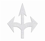 PR-TH-3555 - Preformed Thermoplastic  Combo Arrow (Straight, Left & Right) Symbol - 13' x  11' - 125 MIL White - (Qty 1)