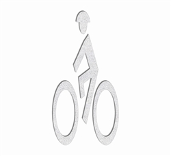 PR-TH-3573 - Preformed Thermoplastic Bike Man Symbol 6' x 3' - 90 MIL White (Qty 5) - MUTCD/FHWA