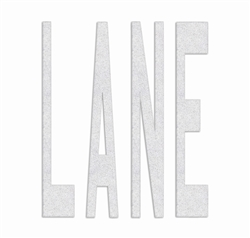 "PR-TH-3796 - Preformed Thermoplastic ""LANE"" Legend 4' x 3'1"" - 125 MIL White (Qty 4)"