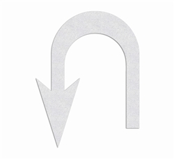"PR-TH-3886 - Preformed Thermoplastic U-Turn Left Arrow Symbol - 10' x 7'6"" - 90 MIL White - (Qty 1)"