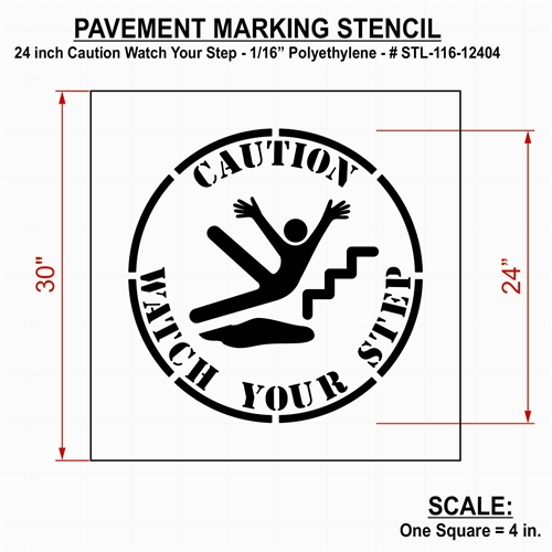 Rae Products Plastic Paint Stencil 24 Inch Caution Watch