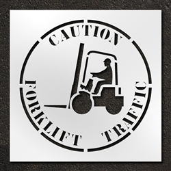 "Pavement Marking Stencils - Duro - 42 inch - Caution Forklift Traffic - 1/16"" - STL-116-14815"
