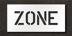 "Pavement Marking Stencils - Duro - 10 inch - ZONE - 1/16"" - STL-116-71024"