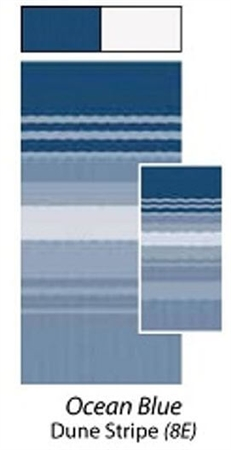 Carefree JU168E00 RV Awning Vinyl Fabric 16' - Ocean Blue Dune Stripe With White Weatherguard