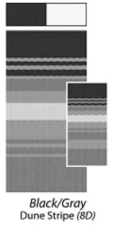 Carefree JU188D00 RV Awning Vinyl Fabric 18' - Black/Gray Dune Stripe With White Weatherguard