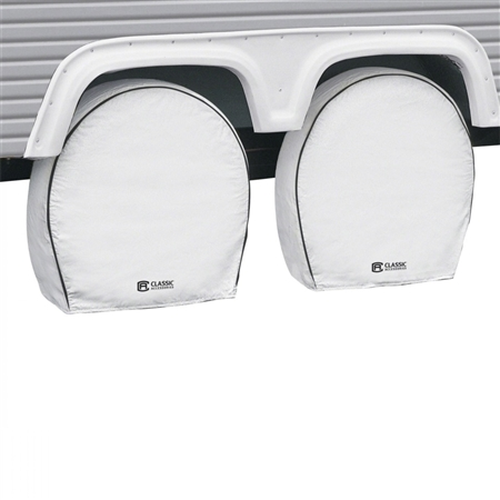 "Classic Accessories 32-34.5"" RV Deluxe Wheel Covers - White"