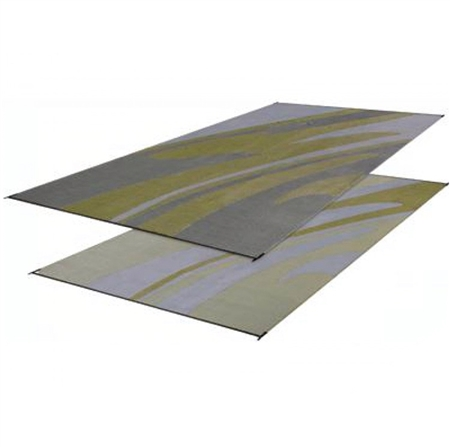 Faulkner 46354 Reversible RV Outdoor Patio Mat - Silver & Gold Mirage Design - 8' x 16'