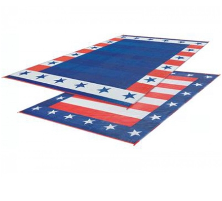 Faulkner 46503 Reversible RV Outdoor Patio Mat - Independence Day Design - 9' x 12'