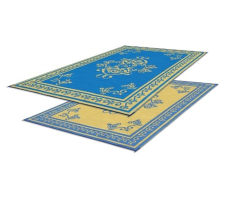 Faulkner 48451 Reversible RV Outdoor Patio Mat - Blue Monte Carlo - 9' x 12'