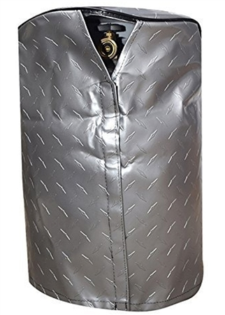 ADCO 2711 Silver Vinyl Diamond Plated LP Tank Cover - 20 lbs. Single