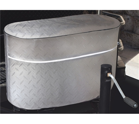 ADCO 2712 Diamond Plated Propane Tank Cover - Silver - Double 20 Lb
