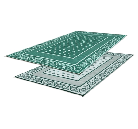 Faulkner 9' x 12' Reversible Vineyard RV Patio Mat - Green