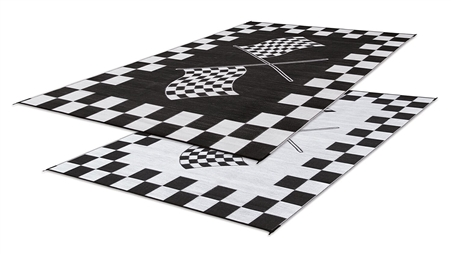 Faulkner 48707 Reversible RV Outdoor Patio Mat - Black & White Checkered Finish Line Design - 6' x 9'