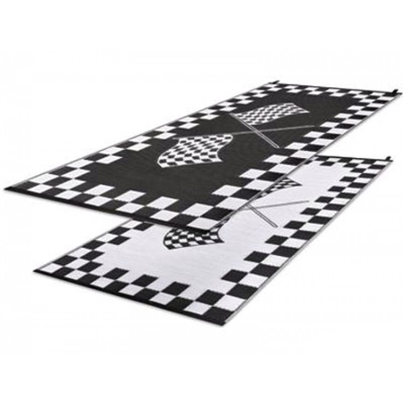Faulkner 48823 Reversible RV Work & Play Mat - Black & White Checkered Finish Line Design - 3' x 5'
