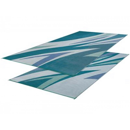 Faulkner 45637 Reversible RV Outdoor Patio Mat - Green & Blue Summer Waves Design - 8' x 16'