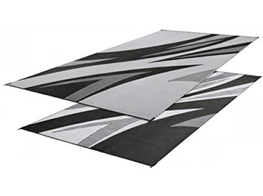 Faulkner 46341 Reversible Rv Outdoor Patio Mat Black Summer Waves Design 8 X 20