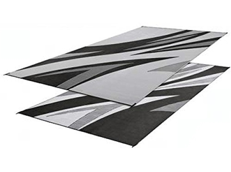 Faulkner 46341 Reversible RV Outdoor Patio Mat - Black Summer Waves Design - 8' x 20'