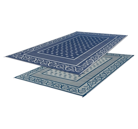 Faulkner 48701 Reversible RV Outdoor Patio Mat - Blue Vineyard Design - 9' x 12'