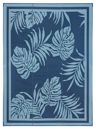 Faulkner 48896 Reversible RV Outdoor Patio Mat - Blue Paradise Design - 9' x 12'
