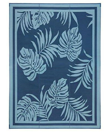 Faulkner 48932 Reversible RV Outdoor Patio Mat - Blue Paradise Design - 9' x 18'