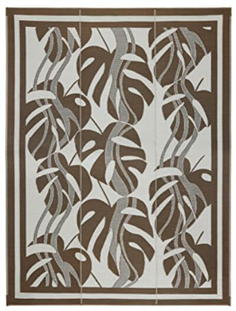 Faulkner 48933 Reversible RV Outdoor Patio Mat - Brown & Tan Sahara Design - 9' x 12'