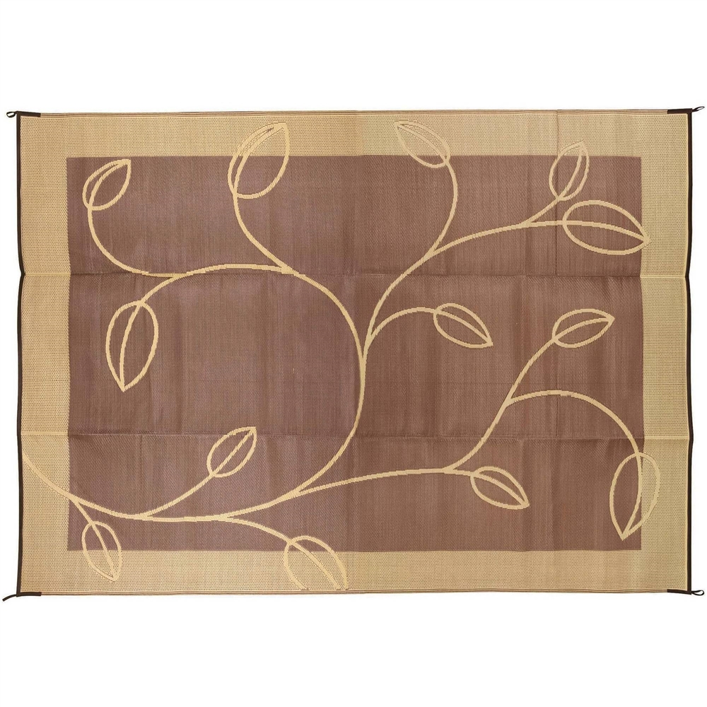 Camco 42855 Rv Reversible Outdoor Mat Brown Tan Leaf Design 9 X 12