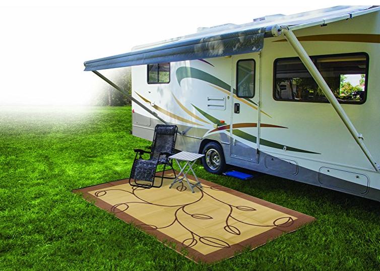 Camco 42855 Rv Reversible Outdoor Mat Brown Tan Leaf Design 9 X 12