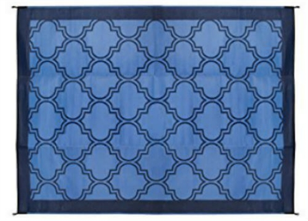 Camco 42856 RV Reversible Outdoor Mat - Blue Lattice Design - 9' x 12'
