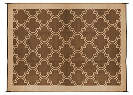 Camco 42857 RV Reversible Outdoor Mat - Brown/Tan Lattice Design - 9' x 12'