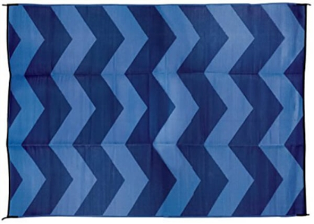 Camco 42858 RV Reversible Outdoor Mat - Blue Chevron Design - 9' x 12'