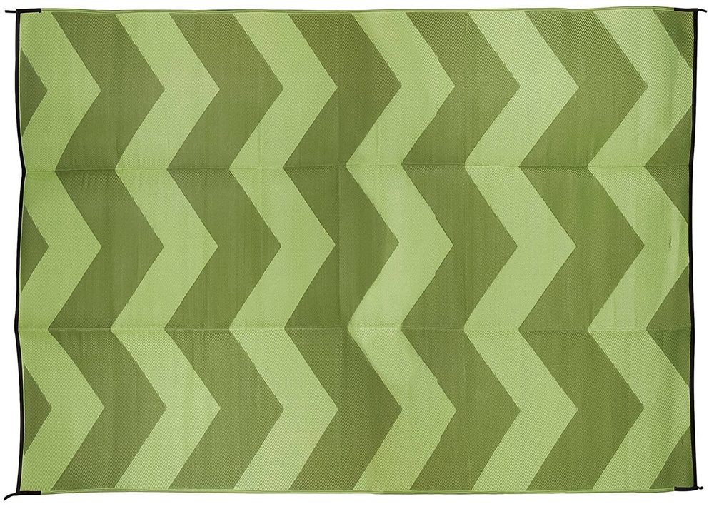 Camco 42859 Rv Reversible Outdoor Mat Green Chevron Design 9 X 12