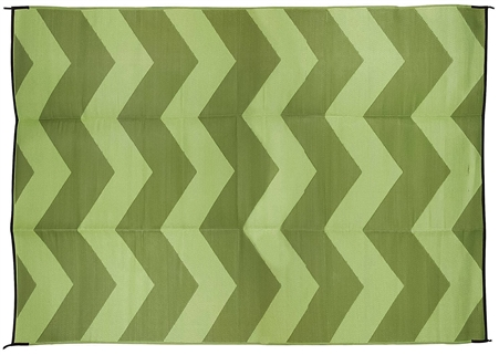 Camco 42859 RV Reversible Outdoor Mat - Green Chevron Design - 9' x 12'