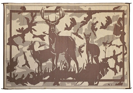 Ming's Mark HC8117 Reversible RV Patio Mat - Brown Camo Deer Design - 8' x 11'