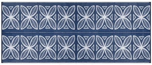 Camco 20' x 8' Reversible RV Outdoor Mat - Blue Botanical