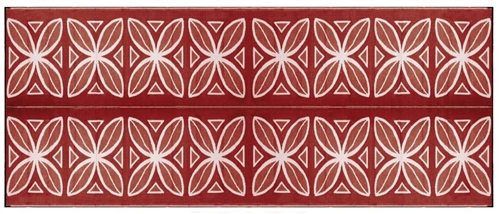 Camco 20' x 8' Reversible RV Outdoor Mat - Burgundy Botanical
