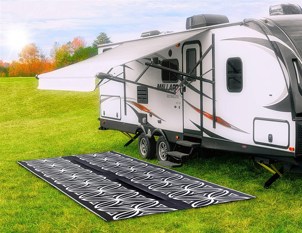Camco 42833 Rv Reversible Outdoor Mat Charcoal Botanical 20 X 8