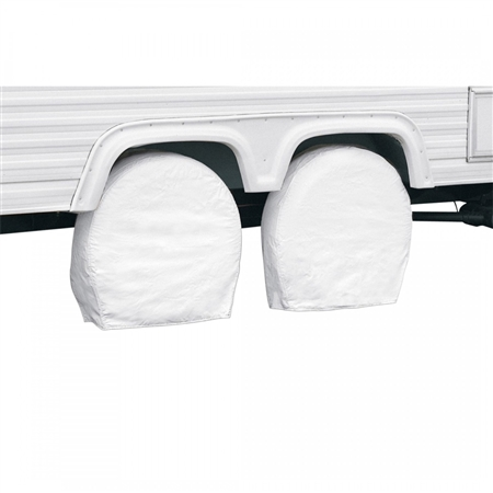 "Classic Accessories 32""-34.5"" RV Wheel Covers - White"