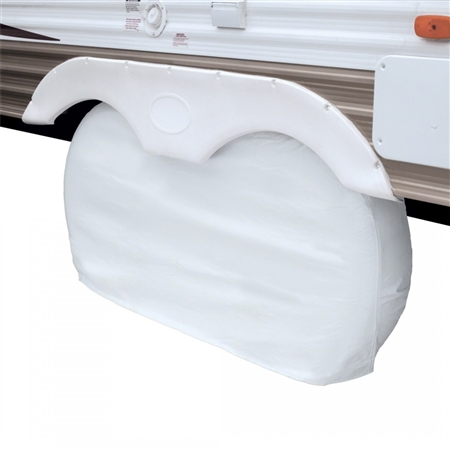 "Classic Accessories Up To 27"" Dual Axle Wheel Cover - White"