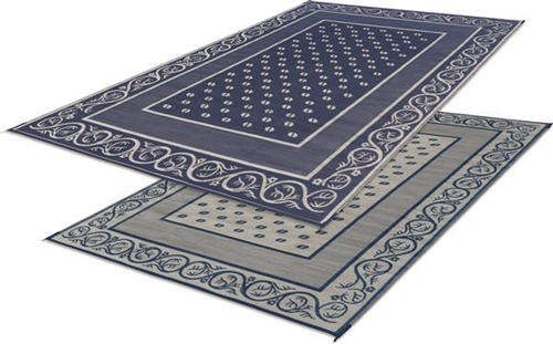 9' x 12' Classical Reversible RV Patio Mat- Blue & Beige