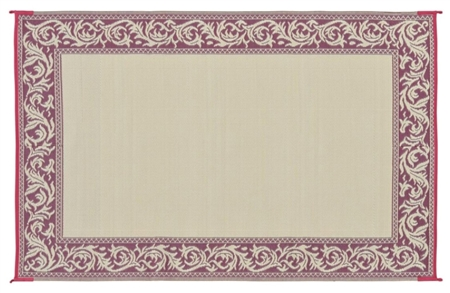 9'x 12' Classical Reversible RV Patio Mat-Burgundy & Beige