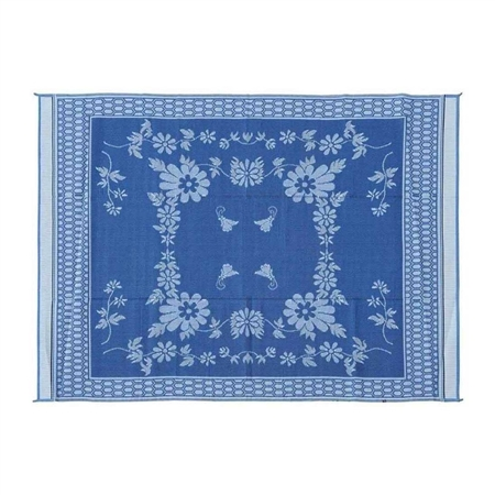 9' x 12' Floral Reversible RV Patio Mat- Blue & White