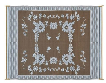 9' x 12' Floral Reversible RV Patio Mat- Brown & White