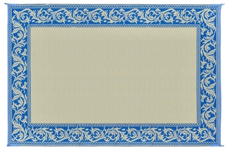 6' x 9' Classical Reversible RV Patio Mat- Blue & Beige