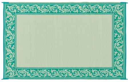 6' x 9' Classical Reversible RV Patio Mat- Green & Beige
