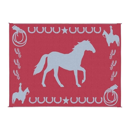 9' x 12' Reversible Horse RV Patio Mat- Burgundy & White