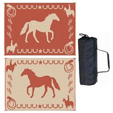 9' x 12' Horse Reversible RV Patio Mat- Brown & Beige