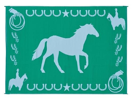 9' x 12' Reversible Horse RV Patio Mat- Green & White
