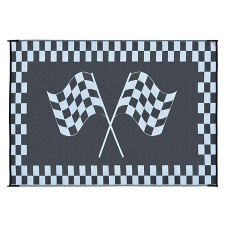 Ming's Mark RF-6091 Reversible RV Patio Mat - Black & White Racing Flag Design - 6' x 9'