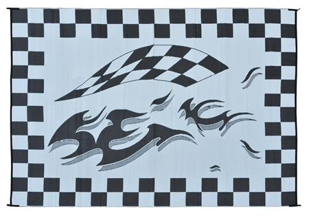 8' x 16' Checkered Reversible RV Patio Mat - Black Flag