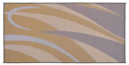 Ming's Mark GA7 Reversible RV Patio Mat - Brown & Gold Graphic - 8' x 12'